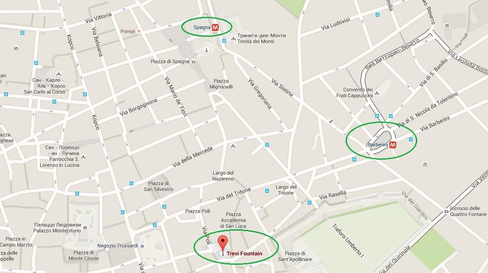 Фонтан Треви на карте Рима