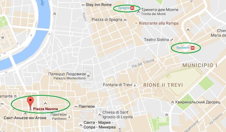 Площадь Навона на карте Рима