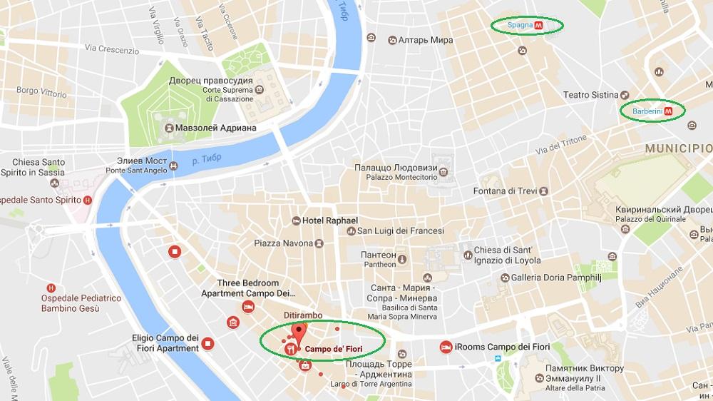 Кампо Дей Фьори на карте Рима