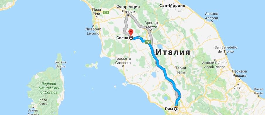 Маршрут Рим-Сиена на карте
