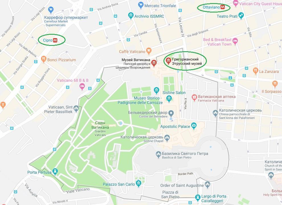 Этрусский музей на карте Рима