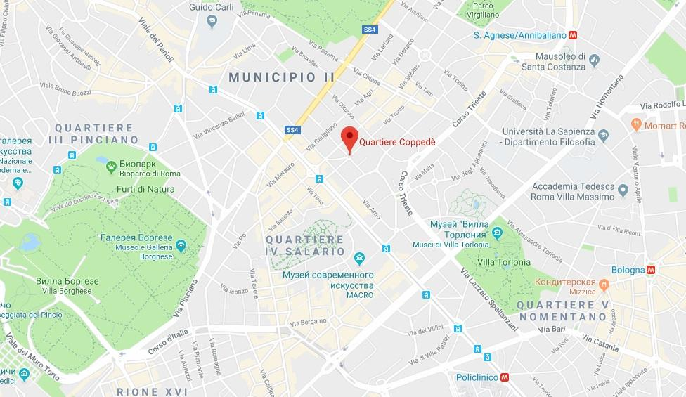 Квартал Коппеде на карте Рима