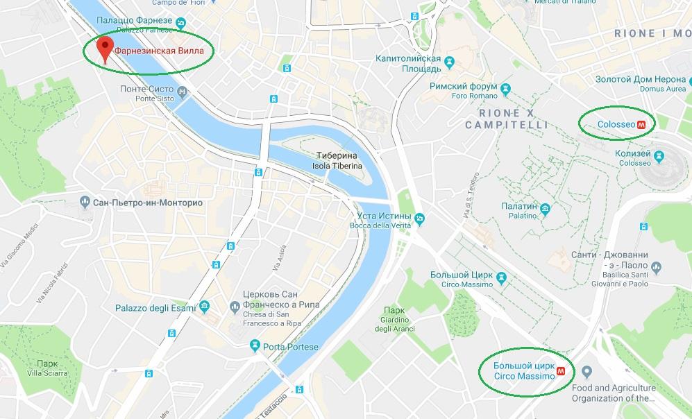 Вилла Фарнезина на карте Рима