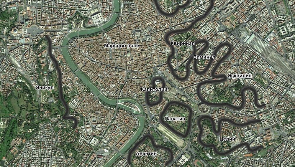 Холмы Рима на карте