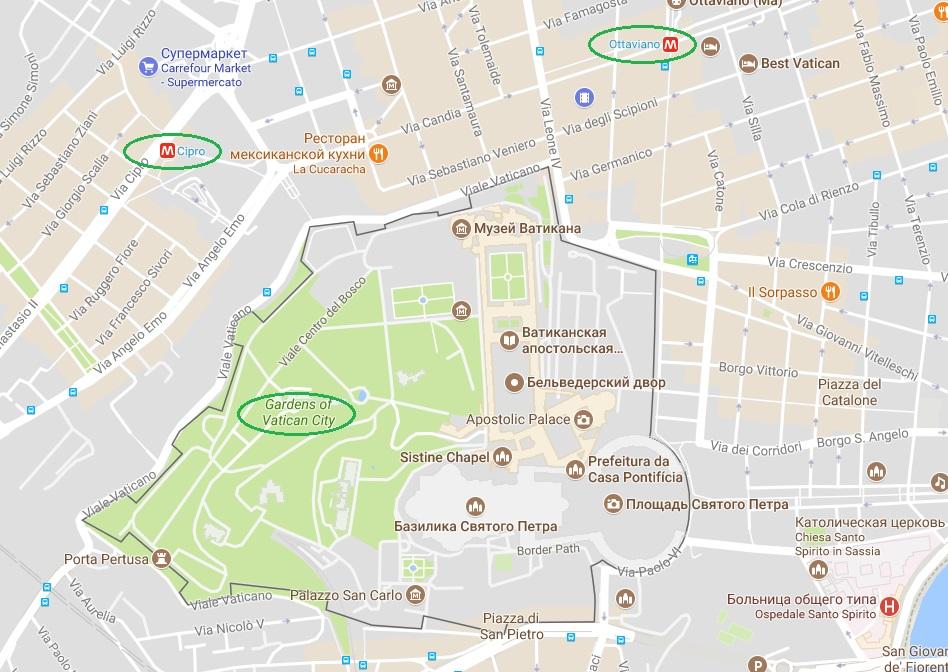 Сады Ватикана на карте