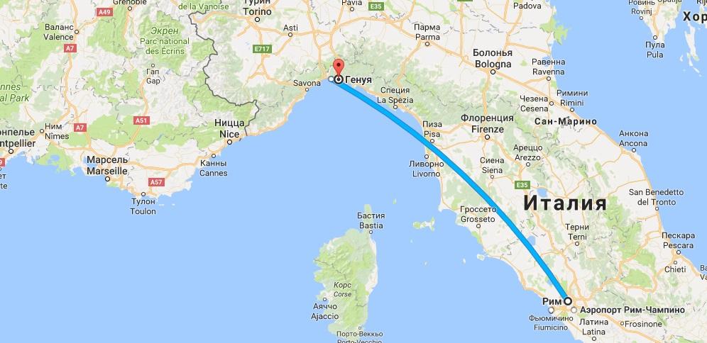 Маршрут Рим-Генуя на карте
