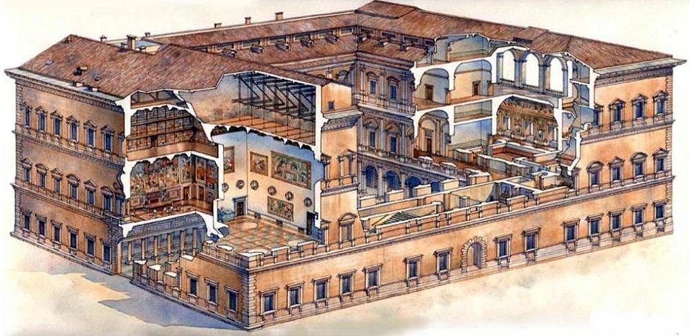 Дворец Фарнезе в разрезе