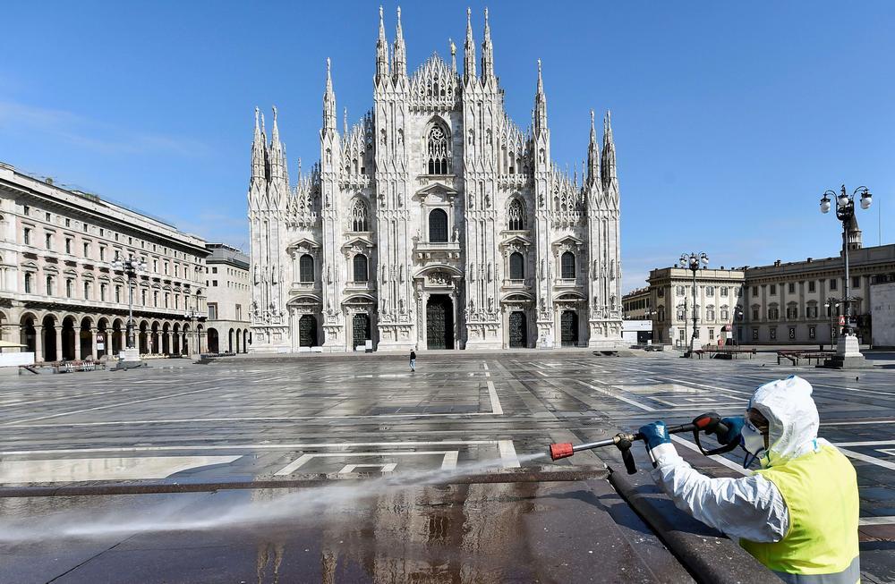 Дезинфекция площади в Милане