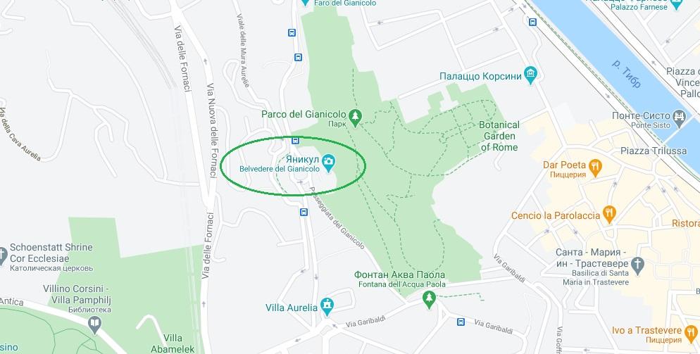 Яникул на карте Рима
